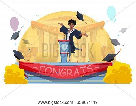 Cartoon Happy Smiling Afro-american Student Giving Graduation Speech. Guy In Gown Standing On Stage