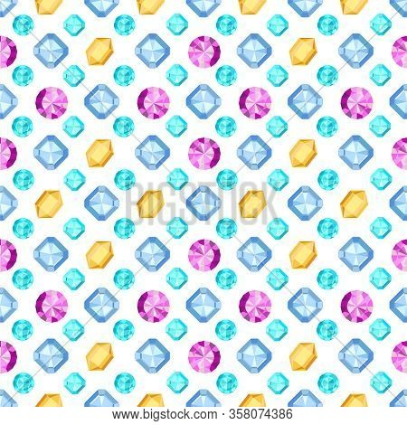 Diamonds Or Brilliants Seamless Pattern. Gemstone Pattern. Vector Illustration. Flat Design Gemstone