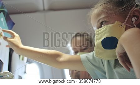 Family Woman And Child Baby Travel Tourist Caucasian At Plane Aircraft With Wearing Protective Medic