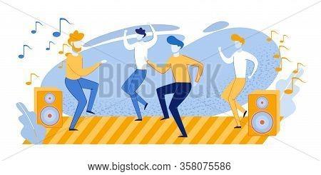 Cartoon Happy Disco Guys Characters Celebrating Bachelor Party. Men Friends Dancing On Dance Floor A
