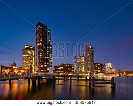 Rotterdam - 13 February 2019: Rotterdam, The Netherlands Downtown Skyline, Several Modern Tall Build