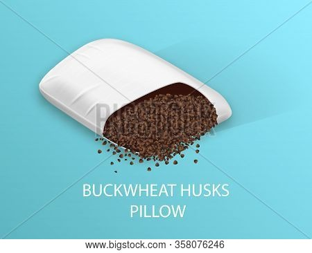 Buckwheat Husks Pillow On Blue Background. Cotton Surface. Orthopedic Pillow. Healthy Sleep. Sweet D