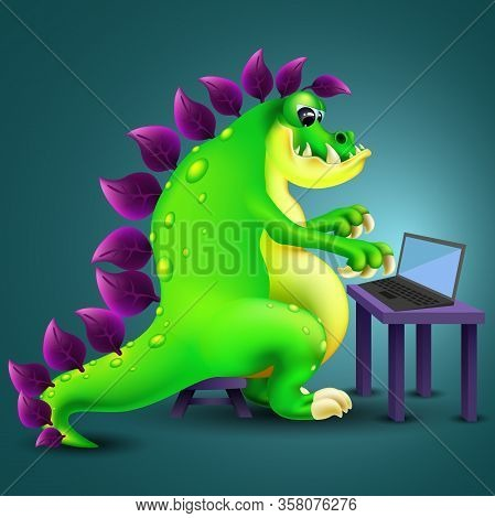 Funny Cartoon Green Dinosaur Sit With Laptop On Dark Background. Vector Illustration