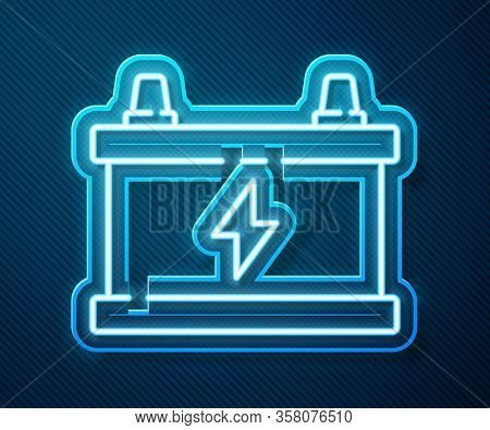 Glowing Neon Line Car Battery Icon Isolated On Blue Background. Accumulator Battery Energy Power And