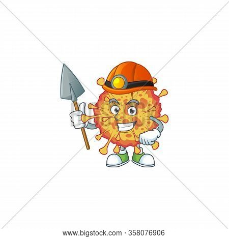 Cool Miner Worker Of Epidemic Covid19 Cartoon Design Concept