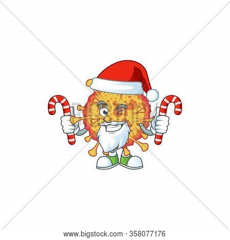 Friendly Epidemic Covid19 In Santa Cartoon Character With Candies
