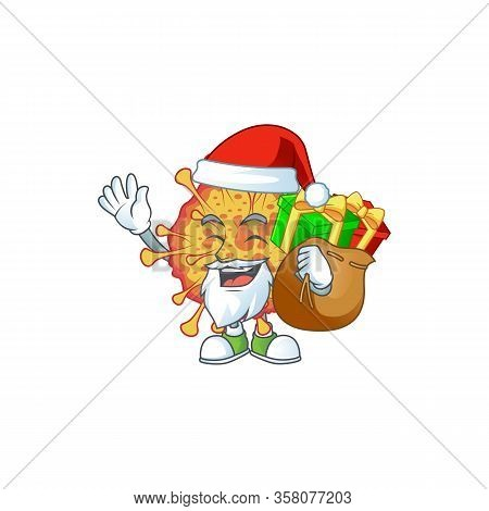Epidemic Covid19 Cartoon Character Of Santa With Box Of Gift