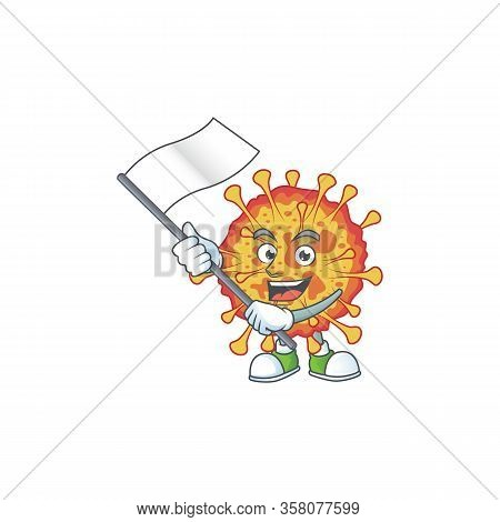 A Patriotic Epidemic Covid19 Mascot Character Design Holding Standing Flag