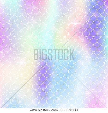Kawaii Mermaid Background With Princess Rainbow Scales Pattern. Fish Tail Banner With Magic Sparkles