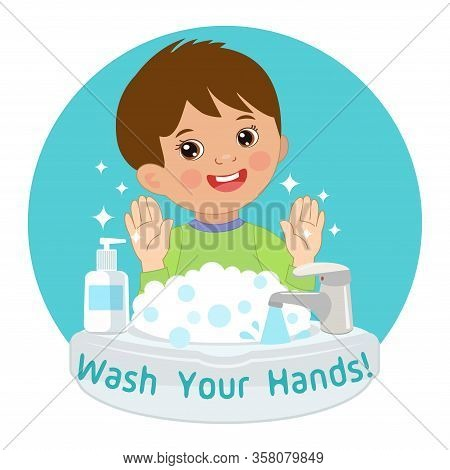 Cute Young Boy Washing Hands In The Sink. Vector Illustration Of Washing Hands With Antibacterial Ha