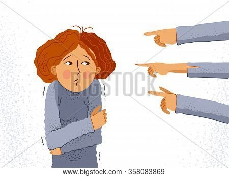 Shaming And Blaming Vector Concept, Hand Pointing Finger On Young Girl Woman Feeling Uncomfortable A