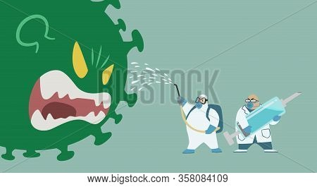 Big Green Virus Monster Fighting With Medical Team In Protective Suit And Doctor Holding Blue Syring