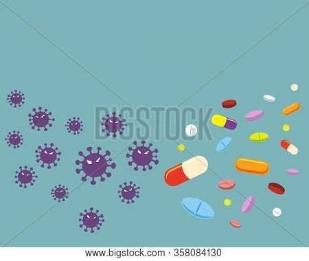 Violet Virus And Variety Of Drugs Isolated On Solid Background.virus Cartoon Character Vector Illust