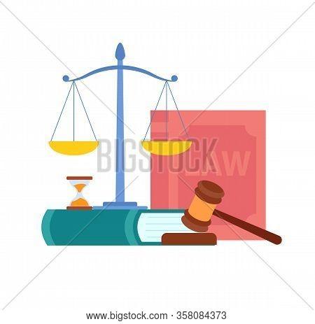 Law, Order, Court Symbols Vector Illustration. Magistrate Gavel, Scales, Cases Reports, Book. Legal