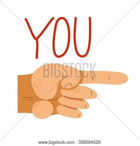 Finger Pointing Hand With You Word Vector Illustration, Hey You, We Need You, Hiring Employee, Socia