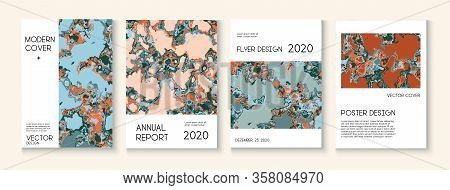 Geographic Map Fluid Paint Vector Cover. Funky Earth Day Ecology Poster. Trendy Magazine, Corporate