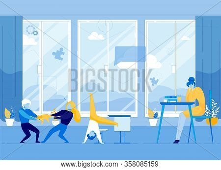 Mother In Stress Sitting At Table Tired, Hyperactive Children In Room At Home Flat Cartoon Vector Il