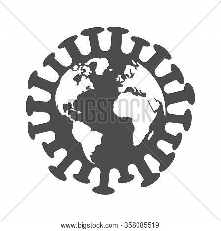 The Image Of The Earth In The Form Of A Virus. Illustration Dedicated To The Spread And Pandemic Of