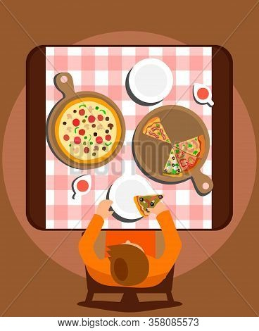 Man Eating Meal Alone Flat Vector Illustration. Dishes And Plates On Pink Tablecloth Top View. Carto