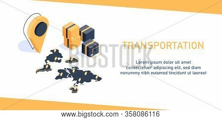 Global Logistics Network Isometric, Transportation Maritime Shipping On-time Delivery,business Logis