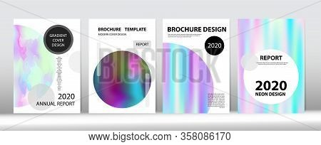 Holographic Gradient Vector Background. Dreamy Holo Bright Trendy Layout. Rainbow Magazine Print Tem