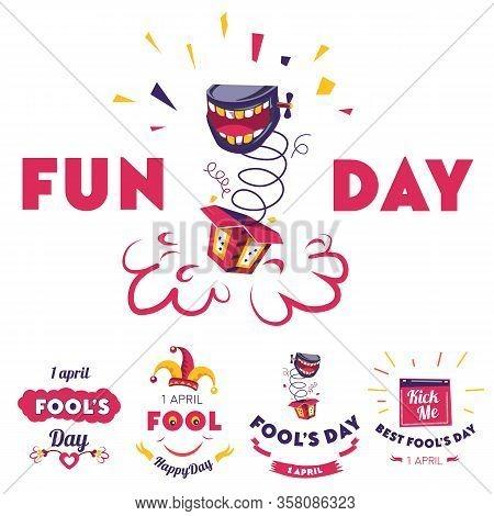 Aprils Fool Fun Day, Holiday Celebration Banners Set