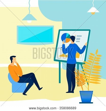 Presentation For Client Flat Vector Illustration. Male Expert Making Report Before Boss, Employer Ca