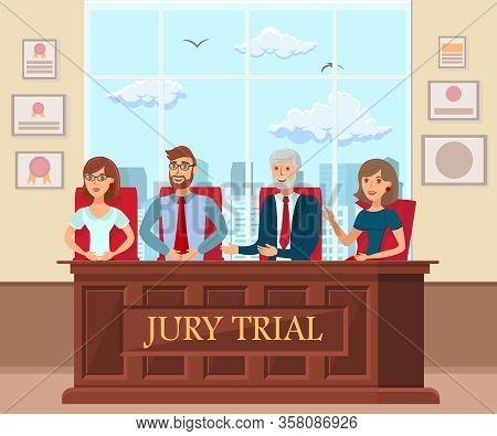 Jury Trial Workers In Court Flat Illustration. Man, Women Performing Juror Duty. Legal Process, Proc