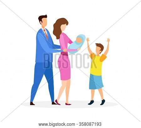 Man, Woman, Boy And Infant Vector Illustration. Young Couple With Kids Cartoon Characters. Parents S