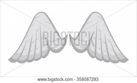 Angelic Wings With White Feathers, Avian Plumage Icon