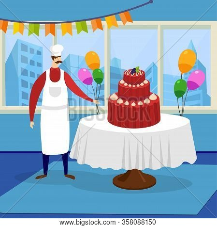 Man Chef Confectioner In White Apron And Toque Presenting Huge Beautiful Festive Cake At Restaurant