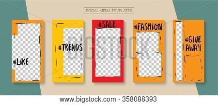 Social Stories Cool Vector Layout. Minimal Sale, New Arrivals Story Layout. Blogger Modern Border, S