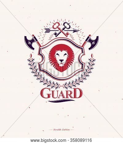 Vintage Vector Emblem Made In Heraldic Design With Lion Head And Armory