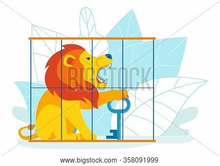 Hard Way To Success Metaphor Vector Illustration. Overcoming Obstacles To Find Solution, Decision, A