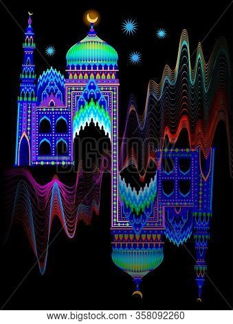 Illustration Of A Fantasy Oriental Castle At Night Time. Cover For Kids Fairy Tale Book. Poster For