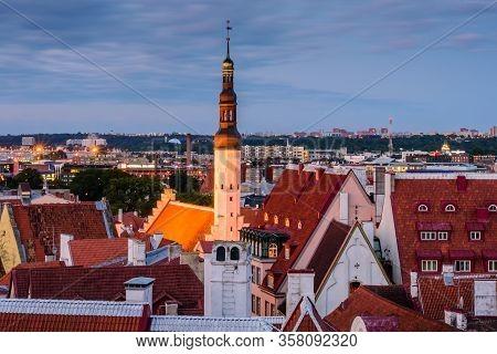 Tallinn, Estonia - August 2, 2019: Sightseeing Of Estonia. Tallinn Old Town, Beautiful Night View