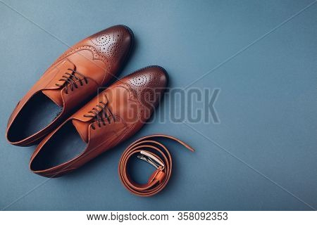 Oxford Male Brogues Shoes With Accessories. Mens Fashion. Classical Brown Leather Footwear With Belt
