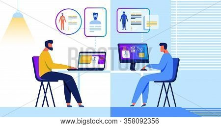 Patient, Doctor And Medical Healthcare Tracking. Cartoon Man And Therapist Sit At Own Computer. Inte
