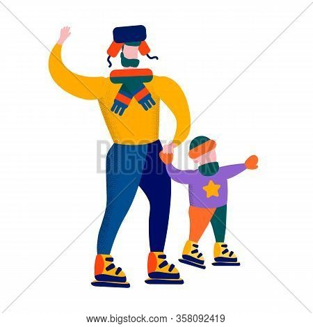 Cartoon Characters Father And Son Skating Ice Rink Winter Family Games Flat Banner Vector Motivation