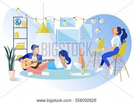 Young Business Team At Work Rest In Modern Coworking Office Vector Cartoon Informal Communications I