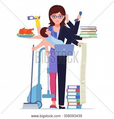 Busy Woman Mom. Vector Illustration Cartoon Character Single Multitasking Woman Mother Doing Office