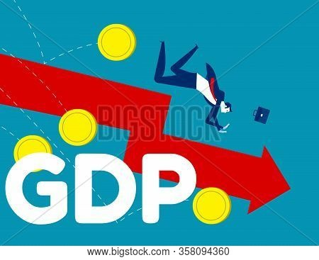 Government Budget. Concept Business Down Gdp Vector Illustration, Gross Domestic Product, Flat Carto