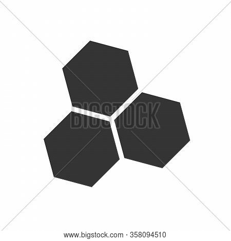 Honeycombs Icon - Vector. Hexagonal Bee Honeycombs. Black Honeycombs Icon In Flat Style.
