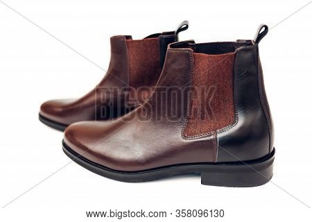 Shoes, Chelsea Leather Boots For Men. Male Winter, Autumn Or Spring Fashion. Brown Footwear Isolated