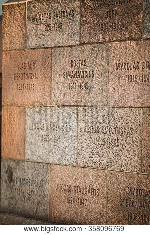 Vilnius, Lithuania - July 7, 2016: Inscriptions Of Names On Wall Of Museum Of Genocide Victims Locat