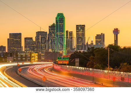 Dallas Downtown Skyline At Twilight, Texas