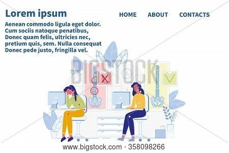 Correct Torso Alignment In Sitting At Table During Working On Computer. Webpage Design. Landing Page