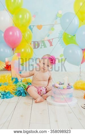 First Birthday Smash The Cake. Cream On Legs. Festive Background Decoration For Birthday With Cake,