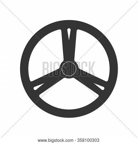 Steering Wheel Icon - Vector. Car Steering Wheel In Flat Style. Steering Wheel Isolated.