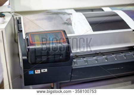 Moscow, Russia - October 04, 2019: Close-up Of A Fragment Of A Hewlett Packard Plotter With A Color